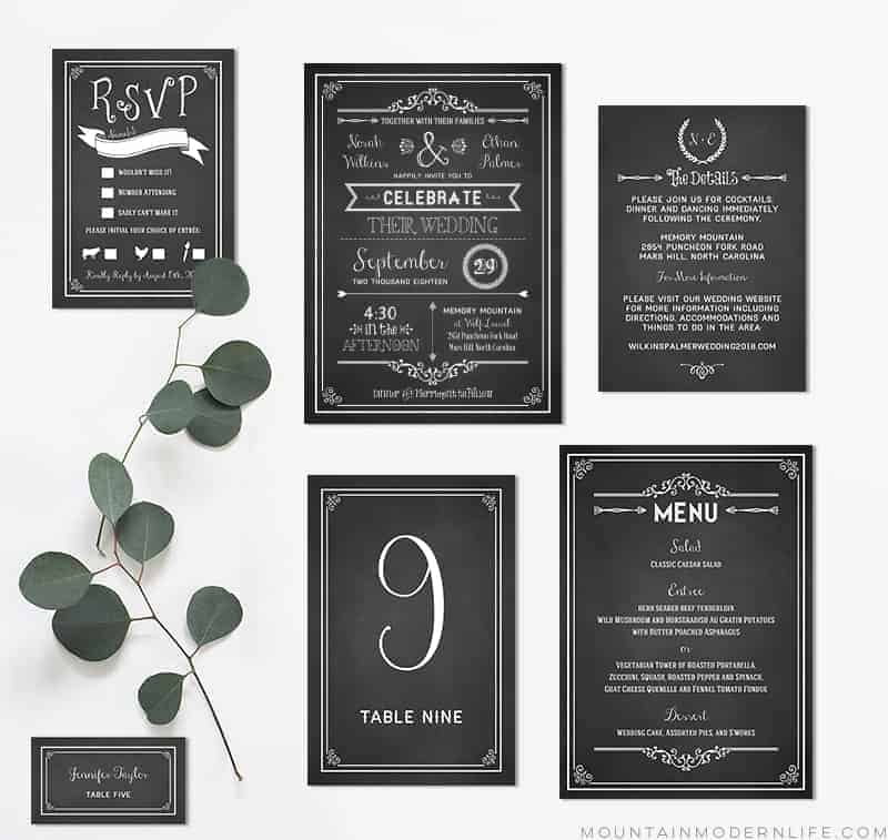 Chalkboard DIY Wedding Invitation Set