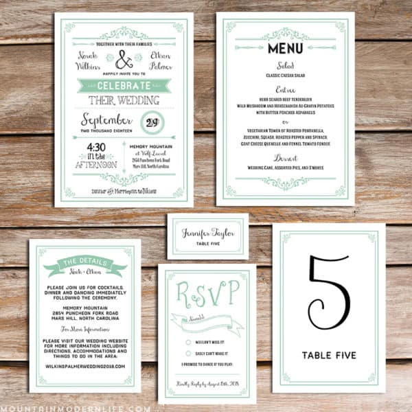 Planning a rustic or vintage-inspired wedding? Save money by personalizing this printable Mint DIY wedding invitation set with your own wedding details.