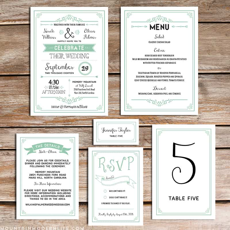 printable mint diy wedding invitation set, Wedding invitation