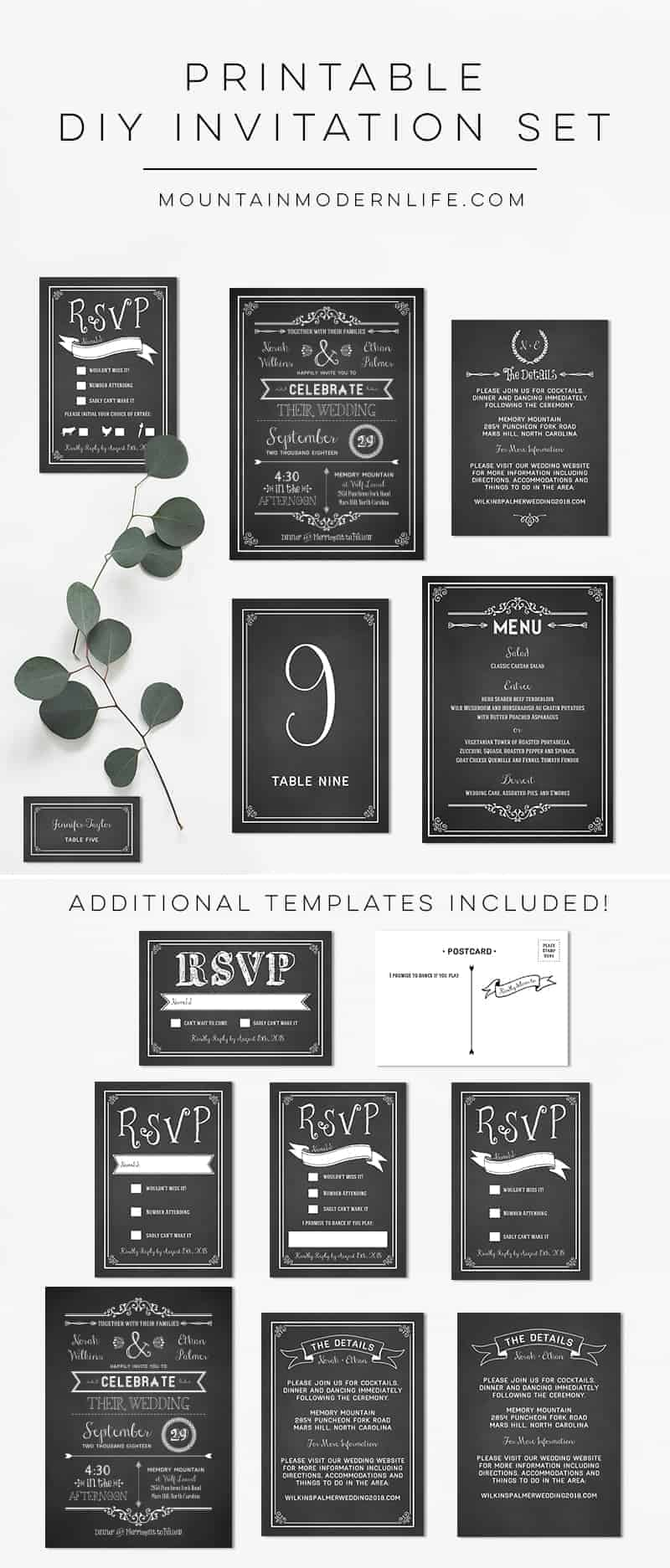 Planning a rustic or vintage-inspired wedding? Instantly download this printable chalkboard DIY wedding invitation set and print as many copies as you need! MountainModernLife.com