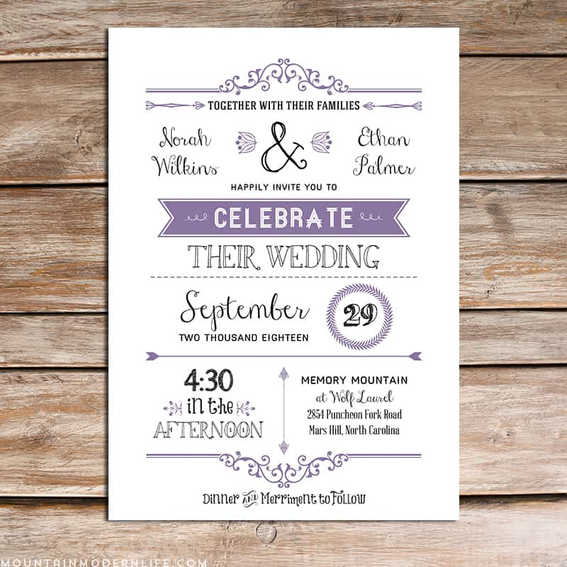 Downloadable Wedding Invitation Templates: Printable Lavender DIY Wedding Invitation Set