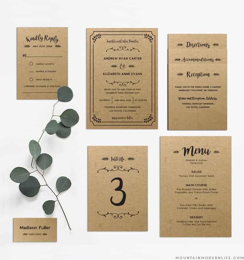 diy wedding invitations templates whimsical rustic diy wedding invitation set 3621