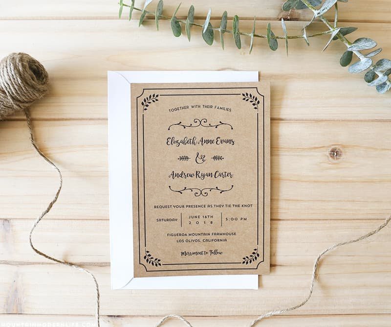 Whimsical Rustic DIY Wedding Invitation Set