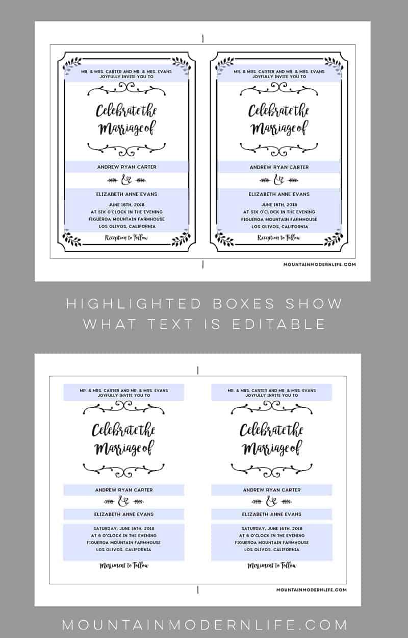 Wedding Invitation Templates.Black Whimsical Rustic Diy Wedding Invitation