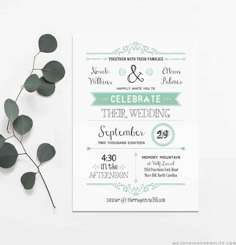 Printable Rustic Wedding Invitation | MountainModernLife.com