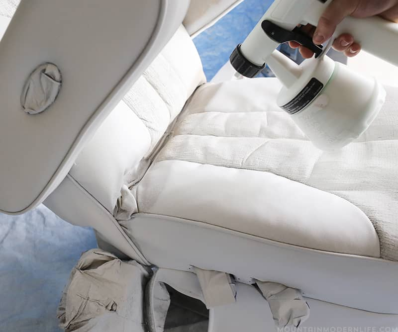 Looking for ways to update your old RV Captain's chairs? Come see how we spruced ours up using chalk paint. MountainModernLife.com