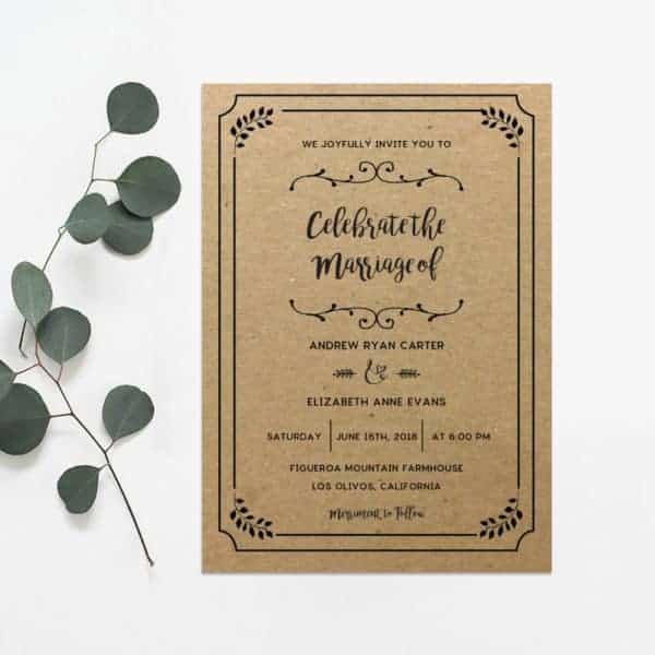 Printable Rustic Wedding Invitation   MountainModernLife.com