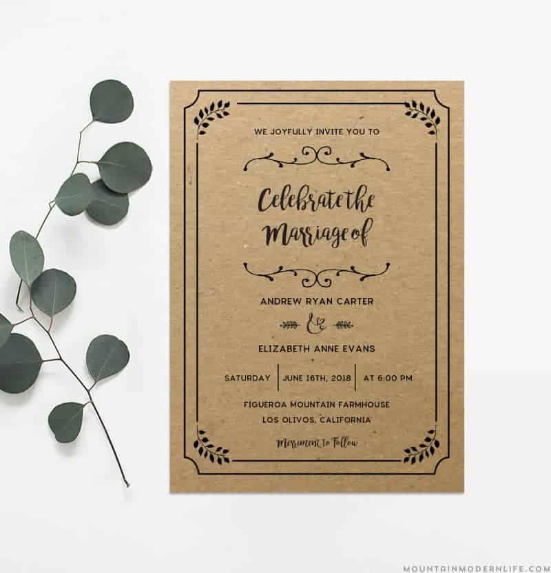 Diy Wedding Invitations Templates: Printable DIY Wedding Invitation Template