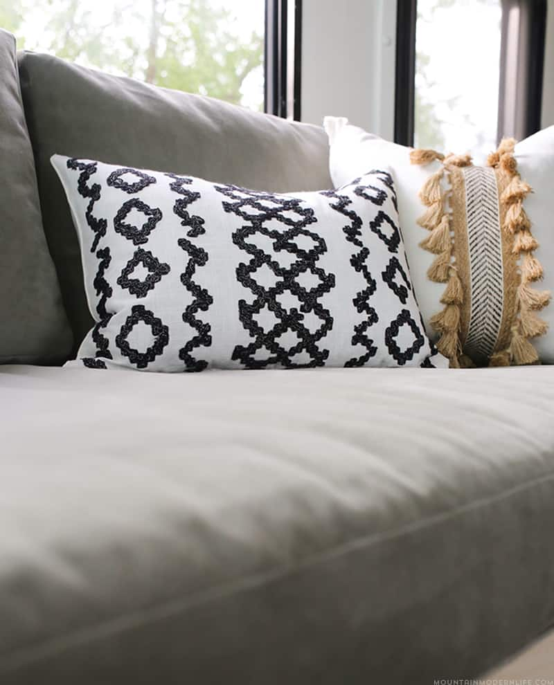 Rustic Modern RV Renovation Progress - DIY boho pillows| MountainModernLife.com