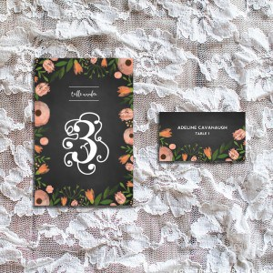 DIY Whimsical Floral Chalkboard Wedding Table Number and Place Card Sample