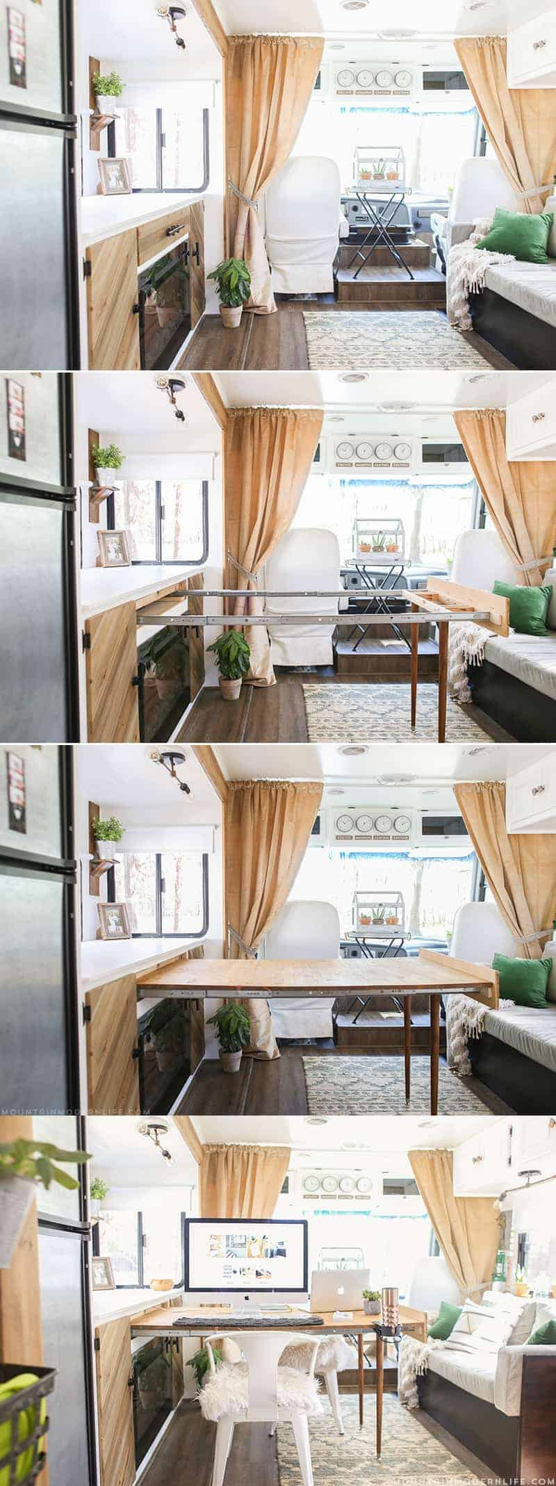 Whether you live in a small space, or are looking for space saving ideas, you've gotta check out this hidden DIY pull-out table that was built inside a RV!