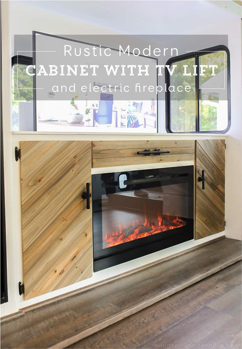 rustic-modern-cabinet-with-tv-lift-and-electric-fireplace-mountainmodernlife.com