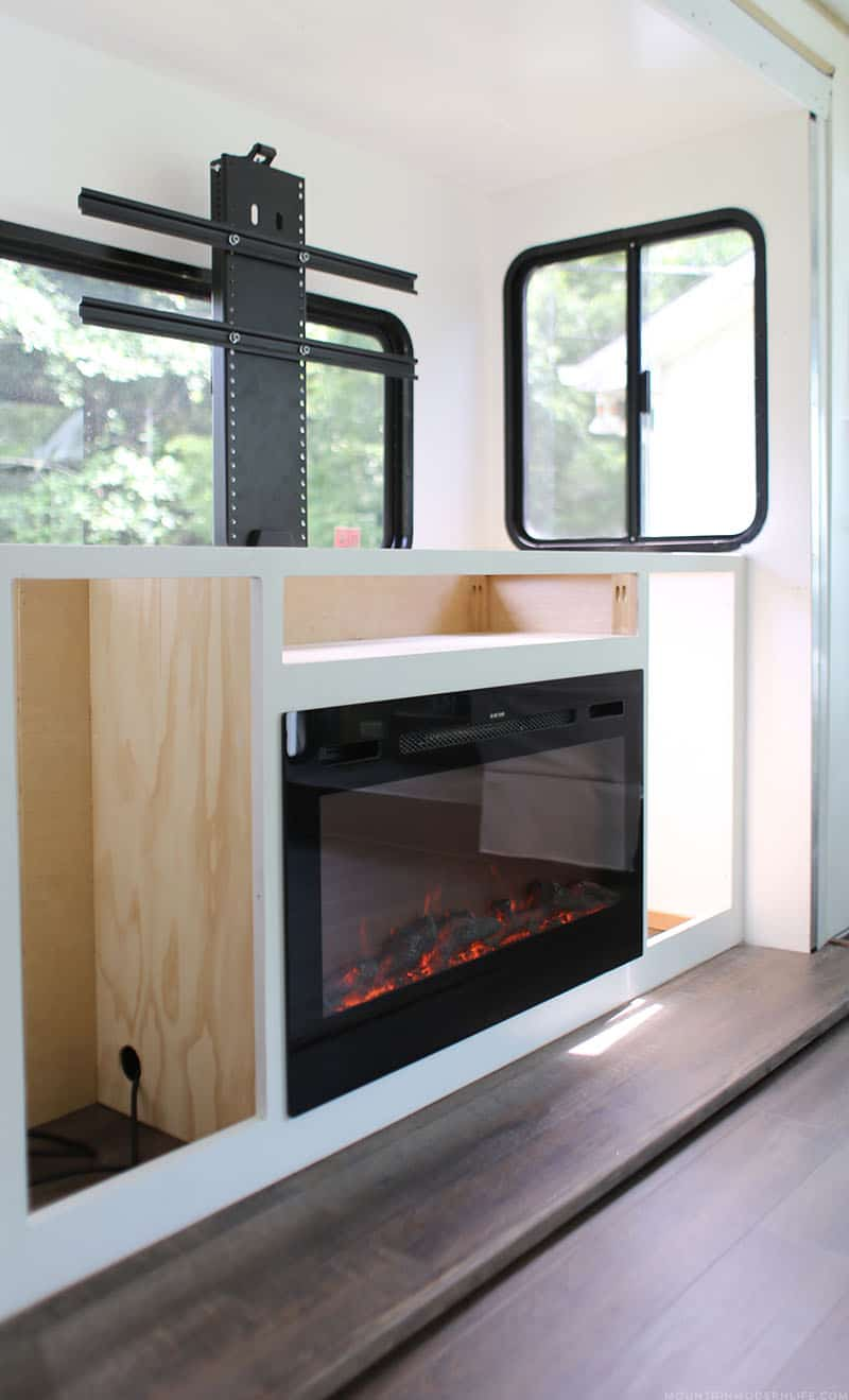how to install tv lift in RV with fireplace