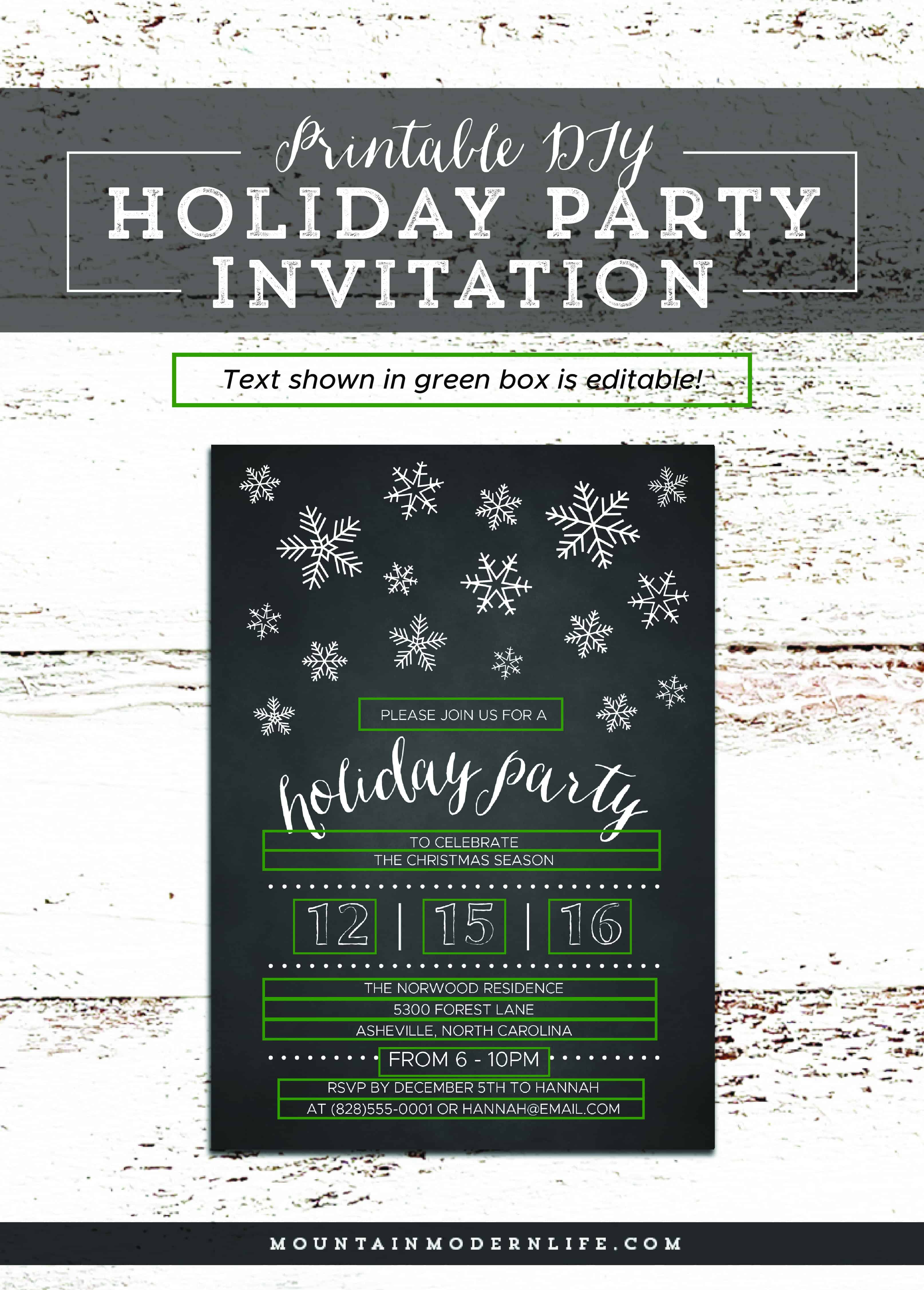DIY Holiday Party Invitation | MountainModernLife.com