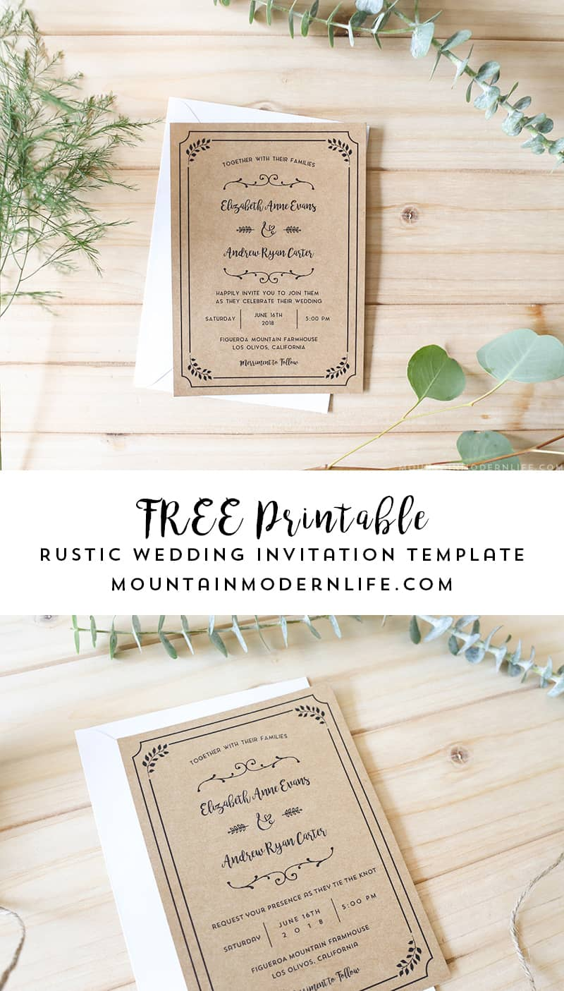 Free printable wedding invitation template for Free rustic wedding invitation templates