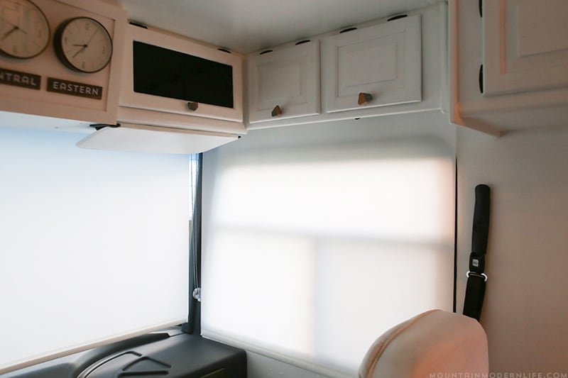 Renovated RV with updated light filtering roller shades | MountainModernLife.com