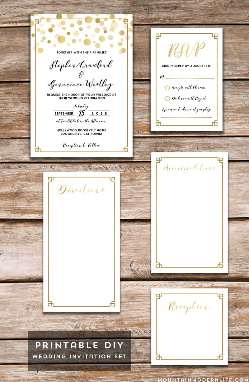 Save money by personalizing this printable Modern Gold DIY Wedding Invitation Set with your own wedding details, and then print as many copies as you need! MountainModernLife.com