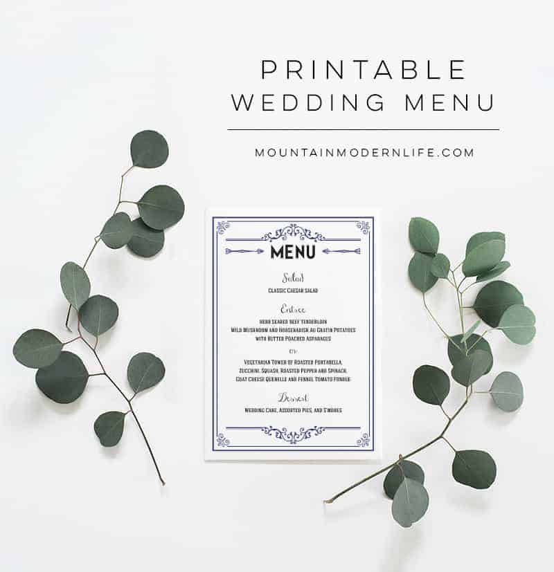 graphic relating to Printable Wedding Menus called Armed service Rustic Do-it-yourself Wedding day Menu