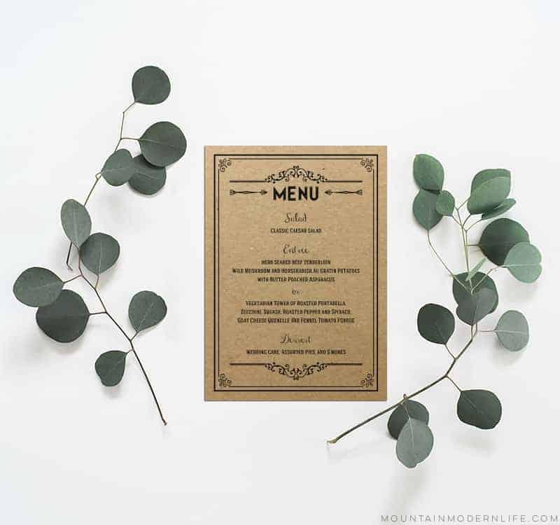 Printable DIY Wedding Menu