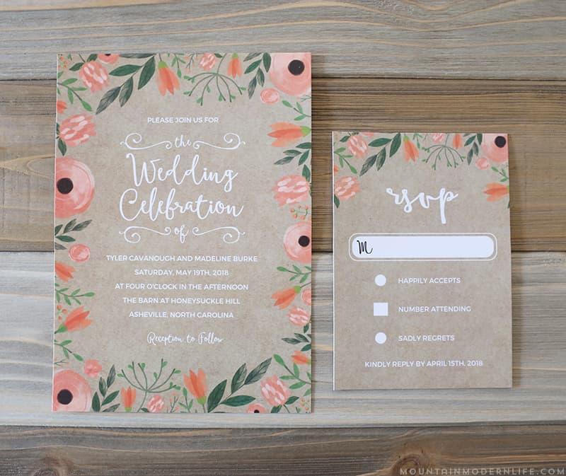 Floral DIY Wedding Invitation & RSVP Card