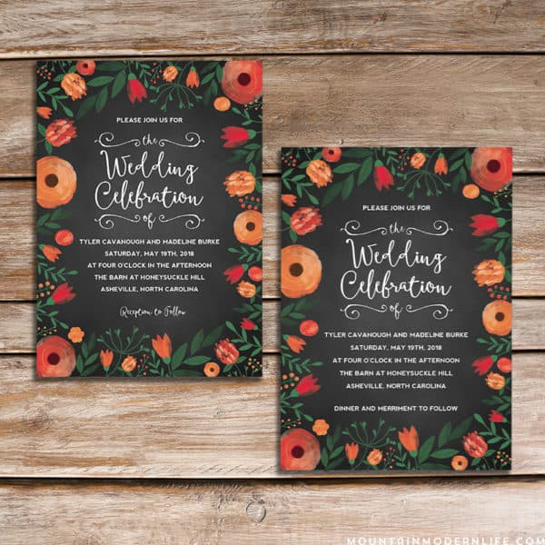 Printable Floral Chalkboard Wedding Invitation Templates | MountainModernLife.com