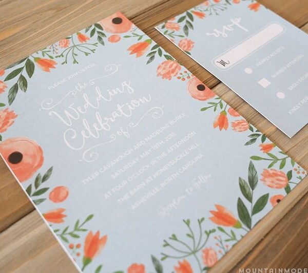 Printable Floral Invitation + RSVP Card Templates - Pink + Blue | MountainModernLife.com