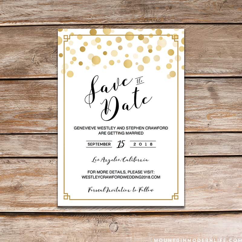 Modern Gold DIY Save the Date Template - with border