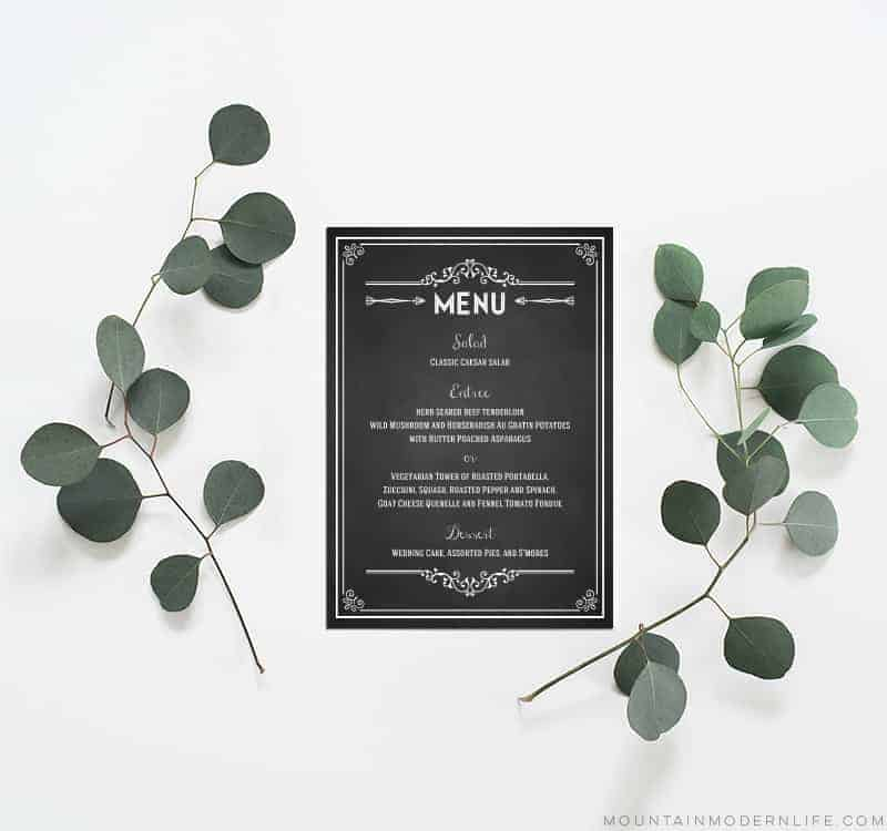 Printable Wedding Menu | MountainModernLife.com