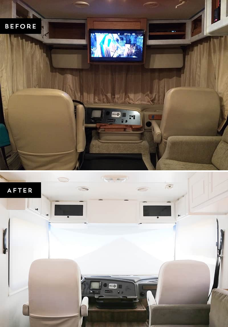 Looking to replace those bulky curtains in the front of your RV? See how easy it was for us to install our new RV windshield roller shades! MountainModernLife.com