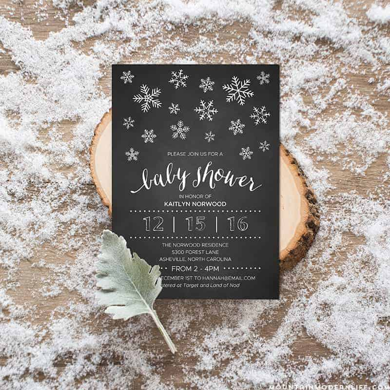 Winter Diy Baby Shower Invitation Mountainmodernlife Com