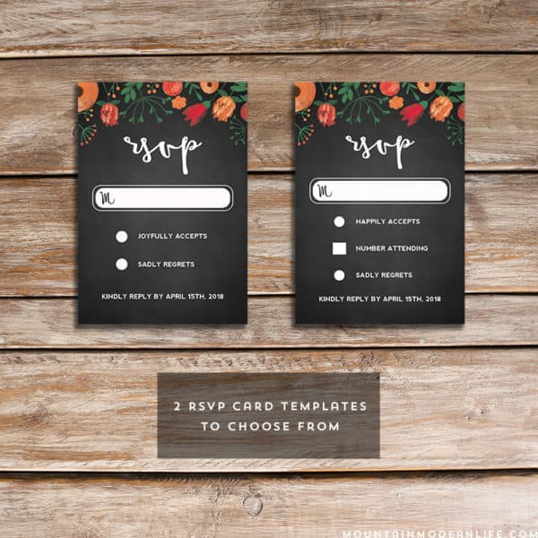 Printable Floral Chalkboard RSVP Card Templates | MountainModernLife.com