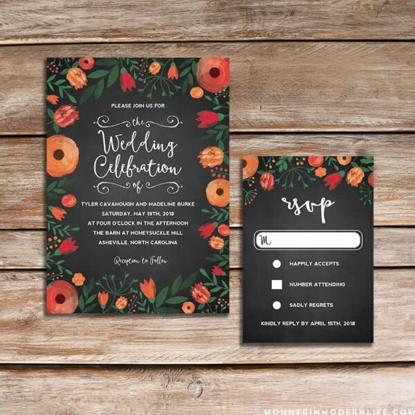 Printable Floral Chalkboard Wedding Invitation and RSVP Card Templates | MountainModernLife.com