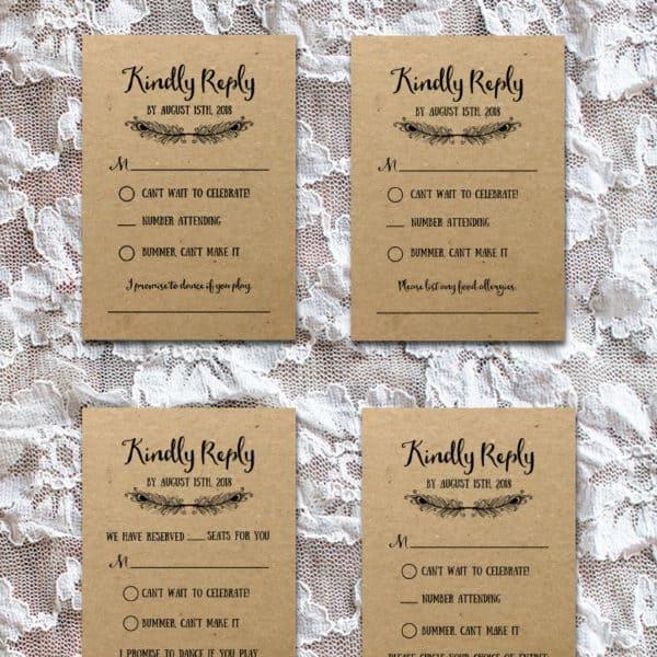 Printable Boho DIY Invitation Set - RSVP Cards