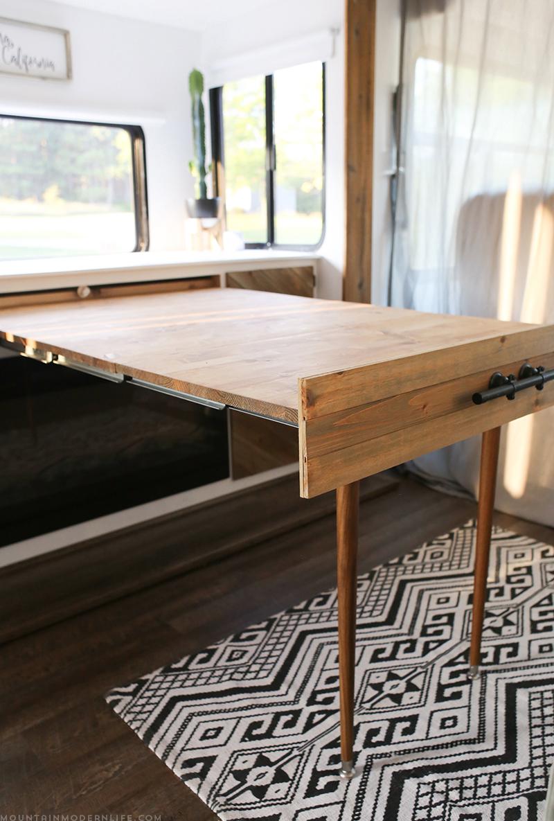 rustic modern desk diy in rv