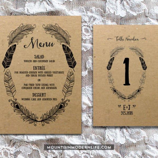 Printable Boho DIY Invitation Set - Menu + Table Number