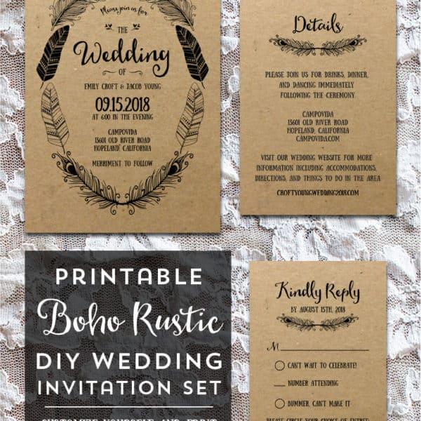 Printable Boho DIY Invitation Set