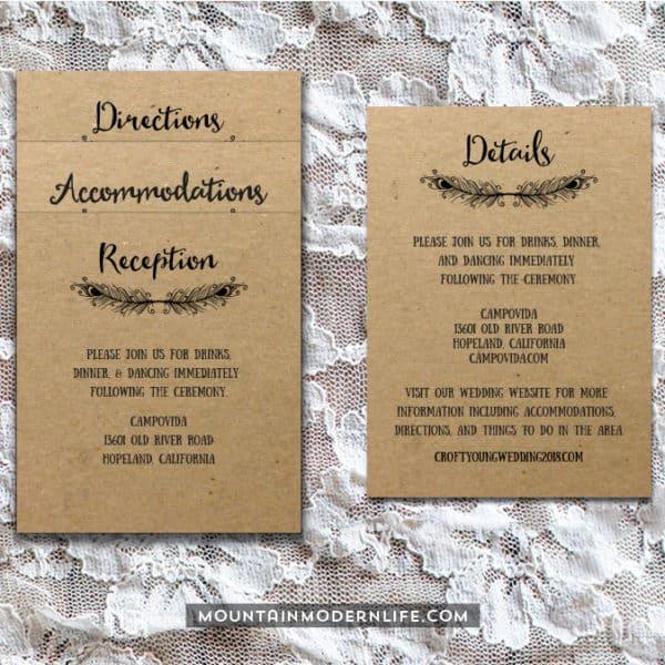 Printable Boho DIY Invitation Set - Insert Cards