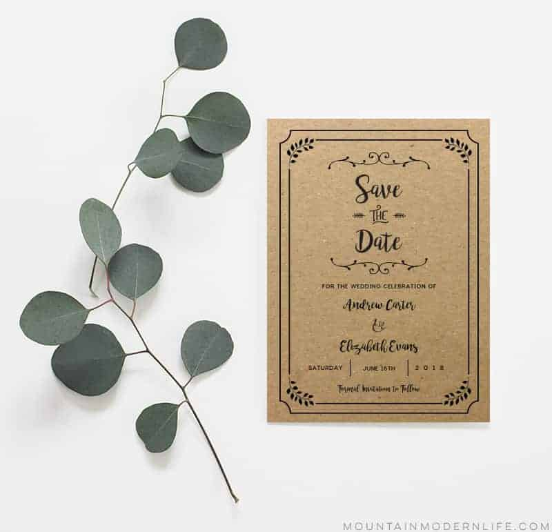 Printable Rustic Save the Date - Sample on Kraft Paper