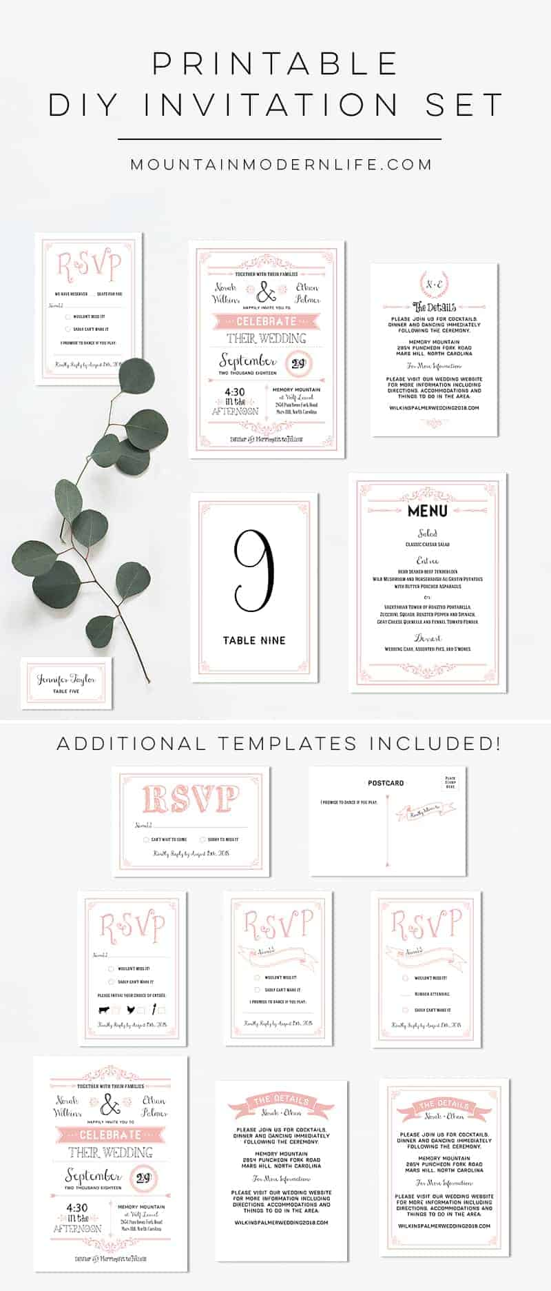 Planning a rustic or vintage-inspired wedding? Instantly download this Printable Blush Pink Wedding Invitation Set and print as many copies as you need!
