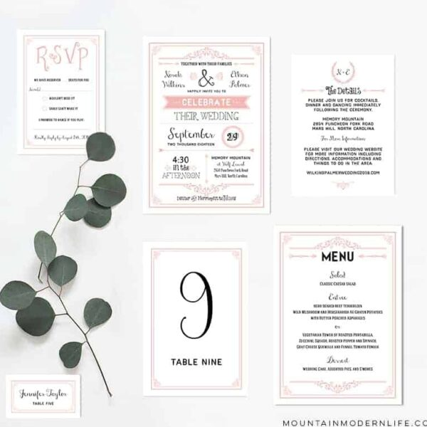 Printable Blush Pink Wedding Invitation Set | MountainModernLife.com