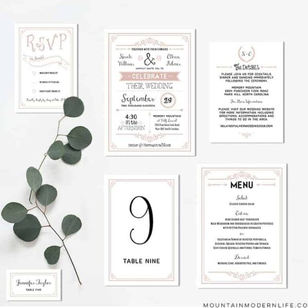 Printable Dusty Rose Wedding Invitation Set | MountainModernLife.com