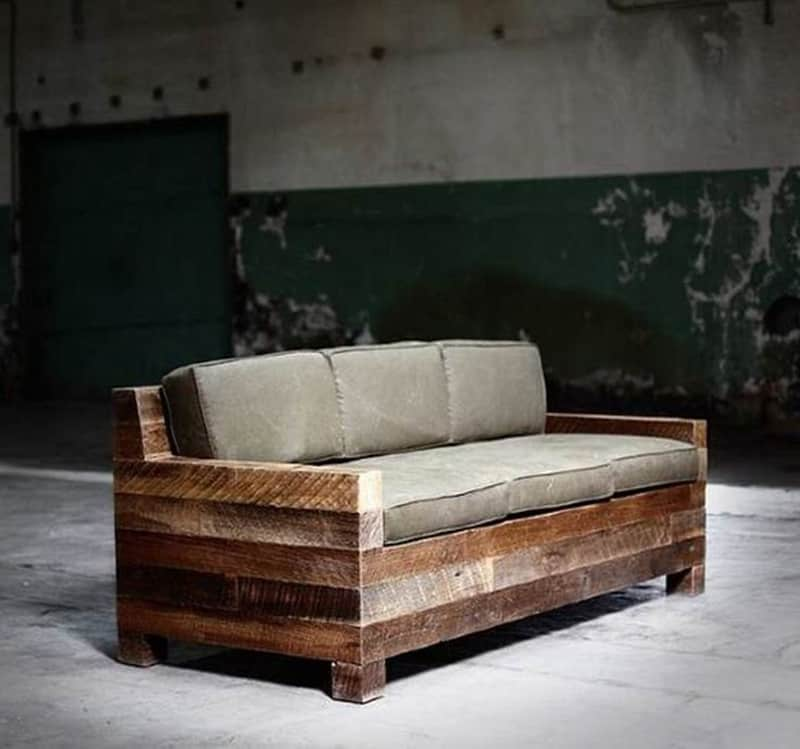 Reclaimed Wood Ottoman ~ Rustic modern sofa designs mountainmodernlife