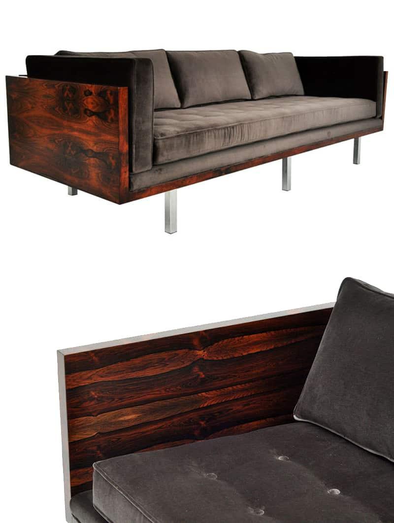 Modern Rustic Sofa Designs | Mid-Century Modern Rosewood Milo Baughman Sofa