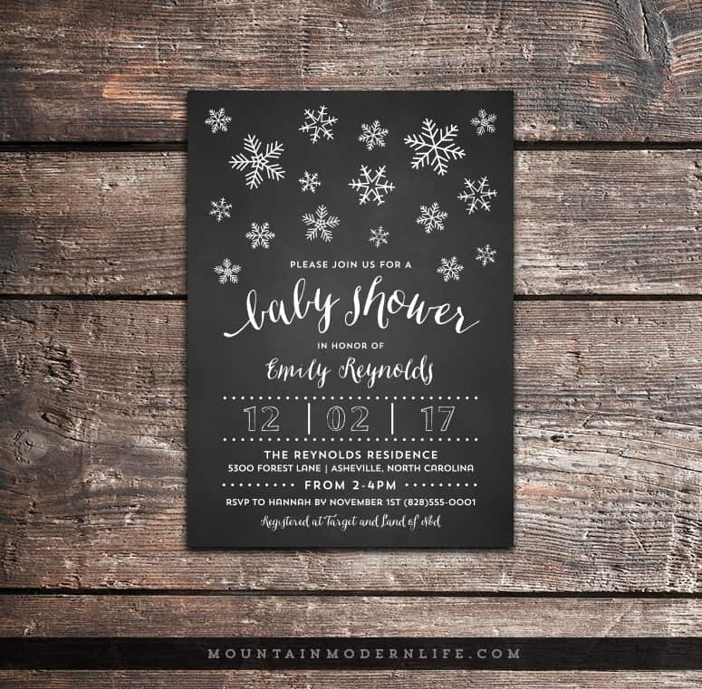chalkboard baby shower invitation custom  mountainmodernlife, Baby shower invitations