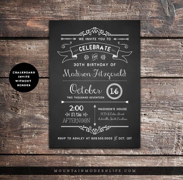 Printable Rustic Birthday Invitation MountainModernLifecom