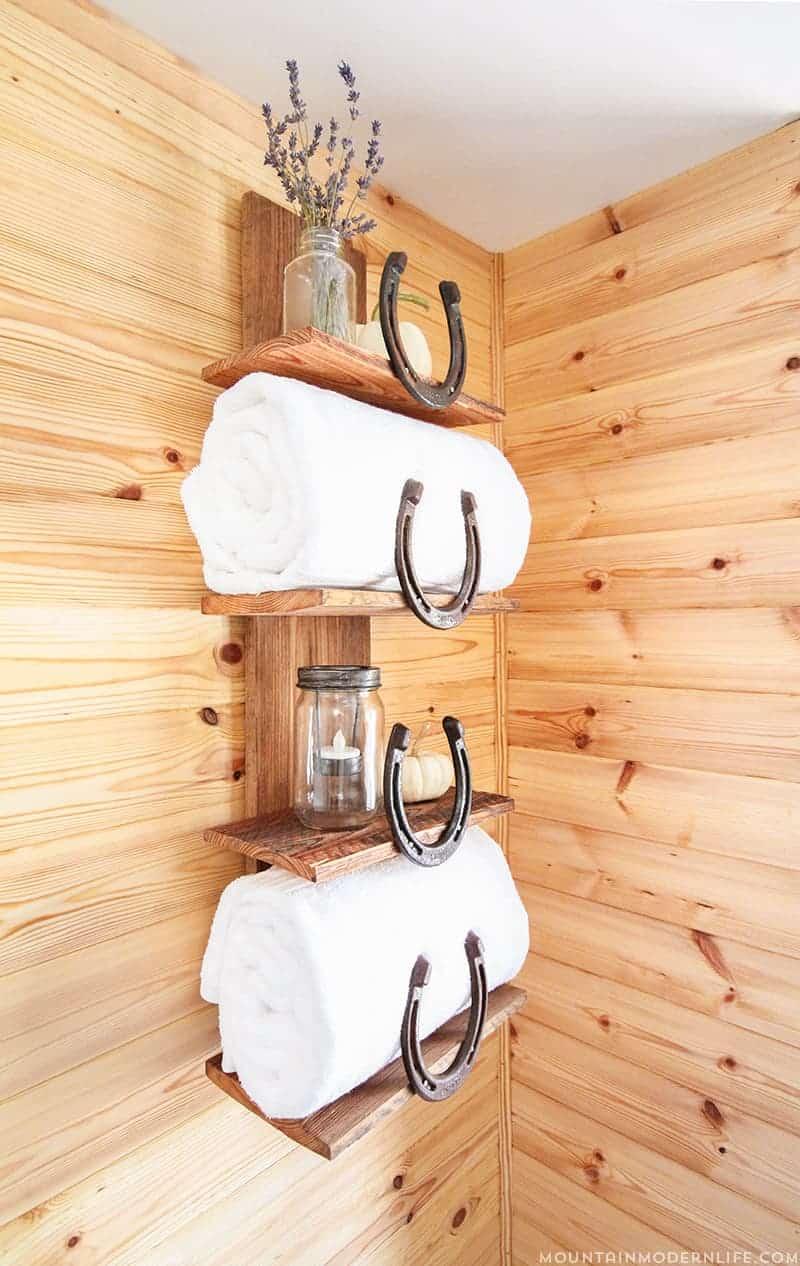 How To Make A Rustic Bathroom Shelf Using Horseshoes
