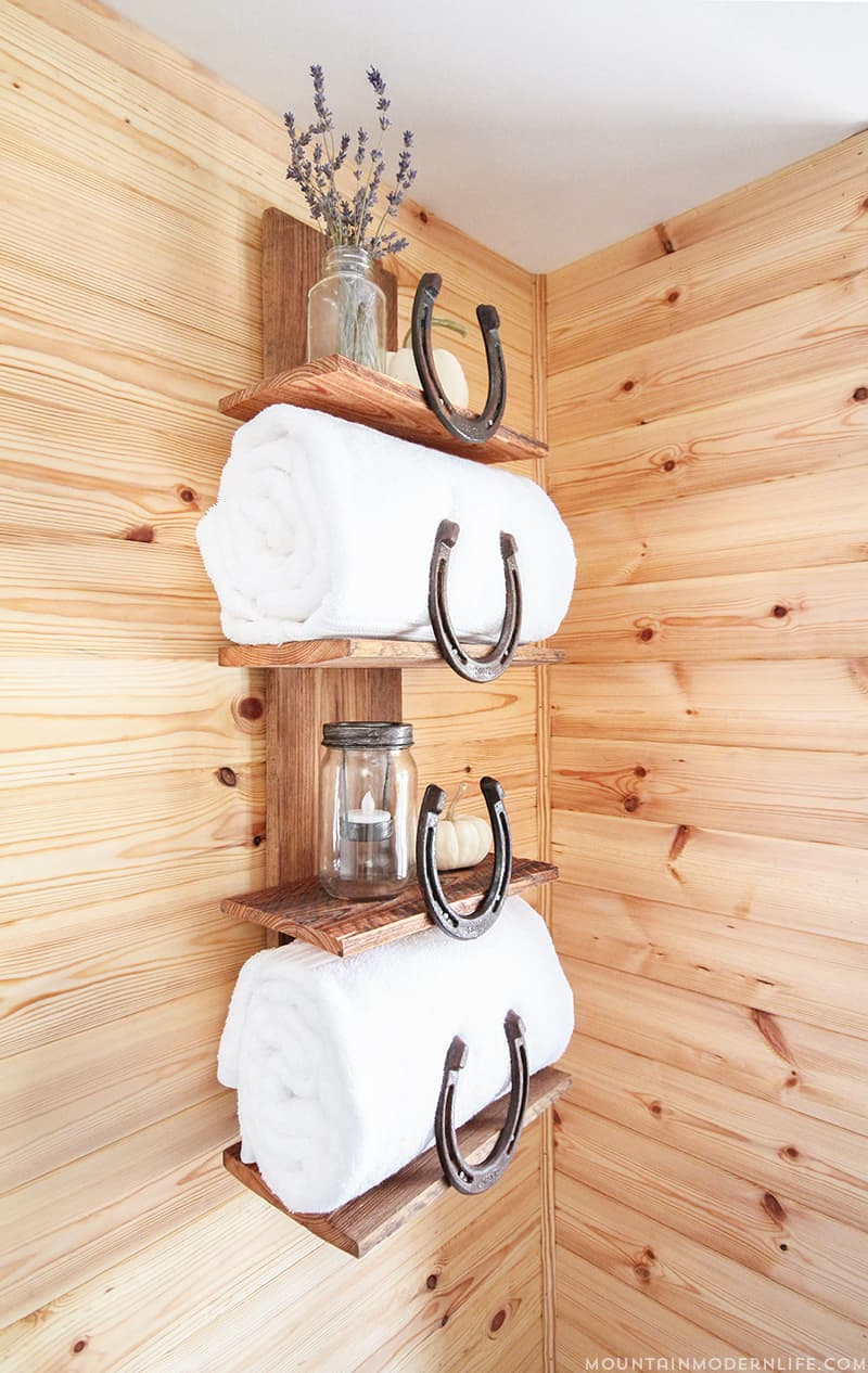 Rustic Bathroom Shelf with Horseshoes | MountainModernLife.com