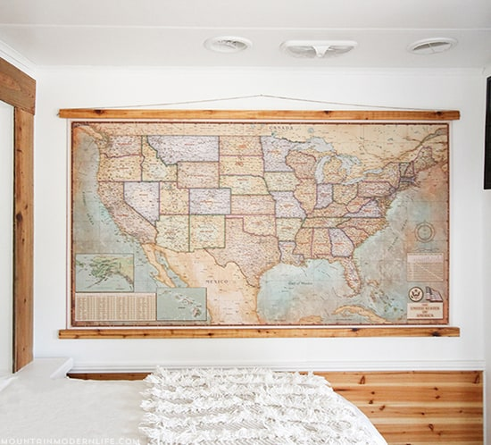 rv-bedroom-makeover-with-vintage-map-mountainmodernlife-com-550x498