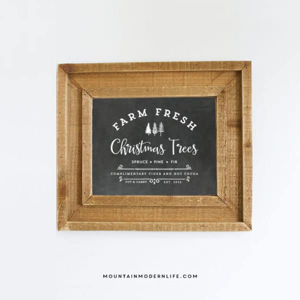 "Instantly Download and Print this vintage-inspired ""Farm Fresh Christmas Trees"" design, perfect for sprucing up your home this holiday season! MountainModernLife.com"
