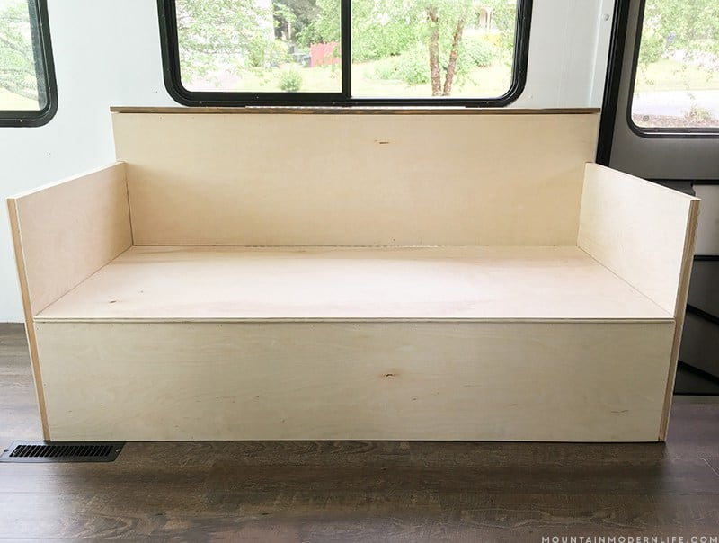 Whether you have a RV, tiny house, or tiny space, you should know that even tiny sofa's can have style and function, like this small DIY sofa with storage that was made for the inside of a RV.